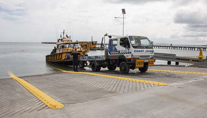 Rye boat ramp and coastguard vessel